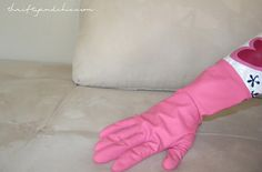 Thrifty and Chic: The Best Way to De-hair Your Couch!   use a rubber glove in circular motions rolls it up