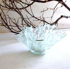 Votive Candle Holder, Fused Glass Decor and Art, Clear Glass Candle Holder on Etsy, $22.00