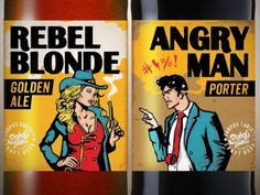 Rebel Blonde and Angry Man Beer Labels by Tyler Barnes - Dribbble