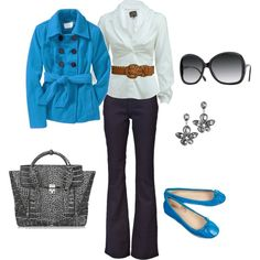 Wear my turquoise or red coat, white shirt, wide belt. Maybe with boots or get some matching flats.