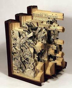 Book art carving sculpture by Brian Dettmer. Altered Books, Altered Art, Art Altéré, Brian Dettmer, Book Art, Origami, Drawn Art, Pics Art, Book Crafts