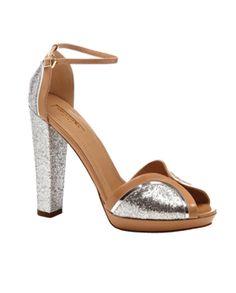 Aquazzura    Nude And Silver Glitter Cosmopolitan Sandal