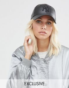 190d4b09dc8 Shop New Era Exclusive NY Cap in Leather Look at ASOS.