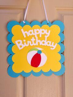Pool Party Sign Beach Ball Birthday Sign Splish Splash