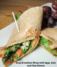 Easy and healthy breakfast wrap with eggs, spinach and feta cheese.