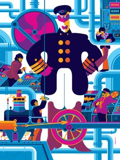 aa907922a3 Yellow Submarine Art Print Portfolio by Tom Whalen (Onsale Info) - OMG  Posters!