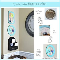 Dollar Tree Craft -- Metal tray to Magnetic Map Art Organizer!!