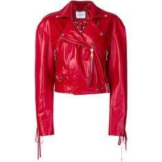 Magda Butrym cropped moto jacket (€2.340) ❤ liked on Polyvore featuring outerwear, jackets, red, red motorcycle jacket, red jacket, red cropped jacket, leather motorcycle jacket and cropped biker jacket