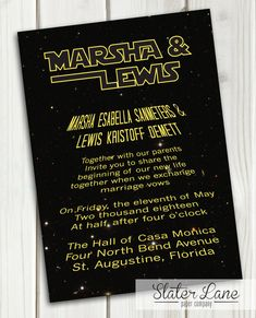 In a galaxy far, far away...This Star Wars inspired wedding invitation is perfect for the fabulous geek-chic wedding. This invitation is a digital file that can be printed from home, taken and printed at a local print processing center, uploaded online to a print service site, or emailed to guests. **This listing is for the 5x7 invitation only - multiple enclosures can be added (RSVP cards, save the dates, etc.). Please send me a message for more information…