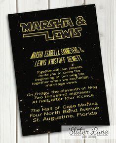 Star Wars Theme Wedding Invitation  by SlaterLanePaperCo Galaxy Far Far Away