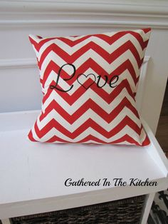 Valentine's Day Pillow - Red Chevron with LOVE Embroidered Letters by gatheredinthekitchen.com