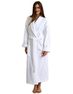 TowelSelections Women's Turkish Cotton Bathrobe Shawl Terry Robe Large/X-Large White. Peony Collection bathrobes are made of 100% absorbent Turkish cotton. These terry cloth robes are absorbent, durable and soft. Peony Collection shawl collar bathrobe. Features two front pockets and a belt. Terry cloth robe for women and men. SIZE CHART: SMALL/MEDIUM: Length: 48.8 inches, Shoulder: 19.7 inches, Chest: 45.7 inches. MEDIUM/LARGE: Length: 50.4 inches, Shoulder: 21.3 inches, Chest: 49.6 inches…