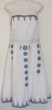 Ann Taylor LOFT short dress White Embroidered Cotton on Tradesy