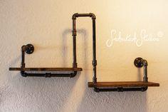 Pipe Shelf - Wall or Corner - Industrial Chic - Rustic Modern - Pipe decorations - Pine Wood Shelf - Corner Shelf