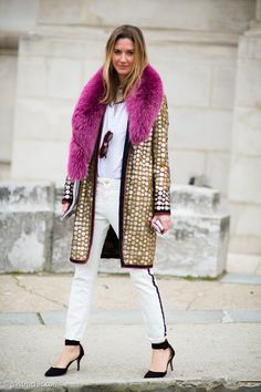 Gold Paillette Coat, Outside Carven #streetstyle #fashion #PFW on http://www.gastrochic.com