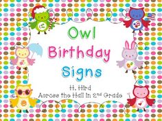Owl Birthday Posters Freebie