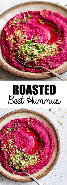 This roasted beet hummus with pistachio dukkah is the perfect dip to serve with crackers, veggies or spread on sandwiches and wraps. It's loaded with roasted beets and garlic flavour, then topped with an aromatic pistachio dukkah!