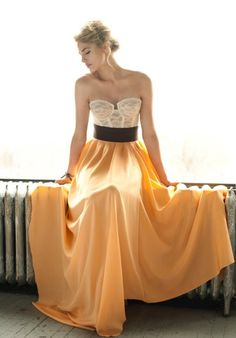 This is a wedding dress but I'd wear it to my engagement party or rehearsal dinner! <3 the bodice!