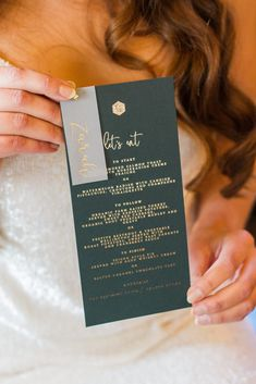 Luxury wedding menu by White Olive Design Studio. Gold foiling on dark racing green premium paper with hand written calligraphy guest name vellum tag. Luxury Wedding Invitations, Wedding Menu, Wedding Planning, Stationery Design, Invitation Design, Handmade Invitation Cards, Hand Written, Gold Foil, Personalized Wedding