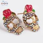 Cheap ear jewelry, Buy Quality fashion stud earrings directly from China stud earrings Suppliers: Cute Pink Rose Rhinestone Skeleton Skull Ear Studs Earrings Women Fashion exaggerated personality trend ear jewelry Sugar Skull Earrings, Rose Earrings, Rhinestone Earrings, Heart Earrings, Crystal Rhinestone, Stud Earrings, Vintage Earrings, Skull Jewelry, Ear Jewelry