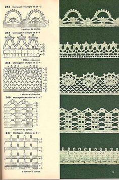 Check out the diagrams and learn to make more than 150 points, (crochet edgings) with images. There are several crochet borders that can be applied in various crochet projects. Choose your favorites… Crochet Edging Patterns, Crochet Lace Edging, Crochet Motifs, Crochet Borders, Crochet Diagram, Crochet Chart, Lace Patterns, Thread Crochet, Crochet Trim