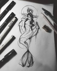 Find the tattoo artist and the perfect inspiration to get your tattoo. - Drawing created by Brazilian artist Felipe (phil.tattoo) from Rio de Janeiro. Mermaid sitting on an - Mermaid Tattoos, Body Art Tattoos, Ink Art, Art Drawings, Art Tattoo, Mermaid Art, Art Sketches, Tattoo Artists, Fantasy Tattoos