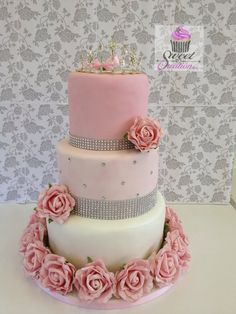 American Style Sweet 16 Birthday cake LOVE THIS IDEA. SWEET PINK WITH DIAMONDS AND TIARAS PRINCESS