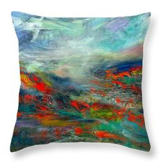 Landscape Throw Pillow featuring the painting Magnificent Valley by Alexis Bonavitacola