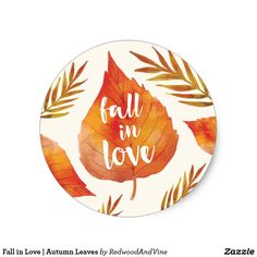 Fall in Love Cool Stickers, Round Stickers, Custom Stickers, Printable Stickers, Fall Wedding Invitations, Invites, Couple Presents, Autumn Wedding, Elegant Wedding