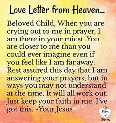 Letter from Heaven Prayer Scriptures, Bible Prayers, Faith Prayer, God Prayer, Prayer Quotes, Faith In God, Faith Quotes, Spiritual Quotes, Bible Quotes