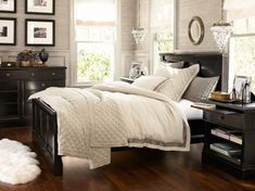 Love the furniture and the pop it makes with the wall.  I like the white bedding too, but I have dogs so that ain't going to happen! Pottery Barn