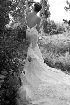 We Are Speechless Over This Inbal Dror Wedding Dress The Dramatic Bunched Lace Train On