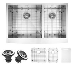 Farmhouse Apron Front Stainless Steel (Silver) 36 in. Double Bowl Kitchen Sink with Grid and Strainer