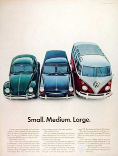 1967 Volkswagen Model Line original vintage ad. Pictured are the VW Beetle, VW Squareback and the 21-window Bus. Available in small, medium and large.