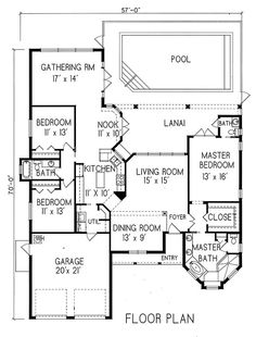 Plan #1-1165. Spanish style home with a living S.F. of 2050 (2914 S.F. Total), 2 full baths and 1 half baths. 1 story home, 58' wide, and 70' deep.