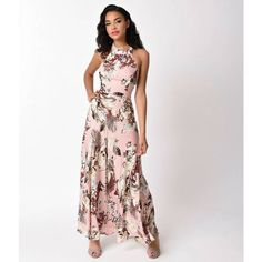 Vintage Style Blush Pink & Tropical Print Halter Maxi Dress ($58) ❤ liked on Polyvore featuring dresses, gowns, evening dresses, floral maxi skirt, print maxi skirt, floral print maxi skirt and evening gowns