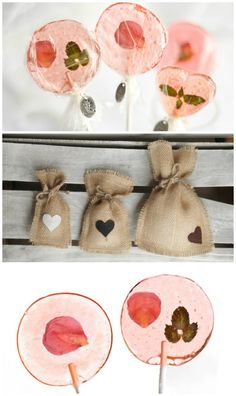 DIY Bellini Petal Lollipop Wedding Favors - These pretty pink rose petals and fresh mint are perfectly suspended in delicious Bellini flavored hard candy pops.  Fresh flowers and herbs infused into darling pink candy lollipops perfect for wedding favors.