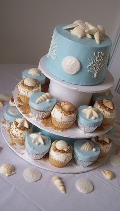 Beach cake with cupcakes!