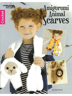 "7 adorable scarves from a dog and lamb to a lion and giraffe are made using #4 worsted- and #5 bulky-weight yarns. Sizes range from 5""W x 44""L to 7 ½""W x 46""L. #Promotion, #PaidAd, #ad, #affiliatelink"