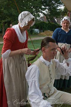 "18th century hairdressing from ""Under the Redcoat"" 2010 at Colonial Williamsburg, Virginia"