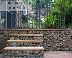 Garden stone wall ideas how rock retaining wall garden ideas Gabion Retaining Wall, Retaining Wall Design, Gabion Stone, Decorative Stone Wall, Gabion Cages, Landscape Design, Garden Design, Gabion Baskets, Stone Wall Design