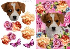 Jack Russel In Summer Flowers on Craftsuprint designed by Amy Perry - Jack Russell In Summer Flowers, In beautiful hot pink frame, also has decoupage  - Now available for download!