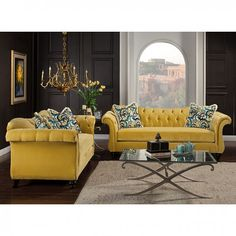 Antoinette Love Seat SM2223-LV Leave a lasting impression to visitors of your home with this timeless re imagining of the chesterfield sofa. Cues from the classic design are kept with essential changes to bring it to the modern day. The reverse camelback seat and arms are deeply tufted with acrylic buttons, and velvet fabric is used for maximum comfort. Matching pillows with intricate pattern are included, for an even more upscale look that will sure impress guests and keep them talking…