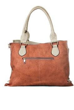 Women salmon orange and ivory pu leather tote