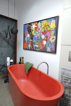 LOVE the recycled red plastic tub by Durat (www.durat.com) eclectic bathroom by Beccy Smart Photography