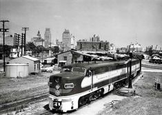 """The """"Texas Eagle"""" concludes an overnight journey from Saint Louis and Memphis to Houston in July 1953. A wye is negotiated as the train reverses to the concourse of Houston Union Station."""