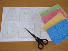 Sponge Letters. Such a cool idea! Cut out the letters from a sponge using a template (FREE template included on the site), and you could use them for painting, as well as with water (as presented on this site).
