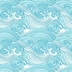 Japanese Seamless Waves Pattern In Ocean Colors | ohpopsi Wallpaper