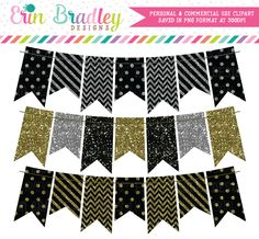 Black Silver Gold Glitter Bunting Clipart – Erin Bradley/Ink Obsession Designs