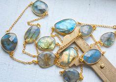 2.5 Feet Bezel Set Iridescent Labradorite Stones with 18k Gold Vermeil Chain $57.50
